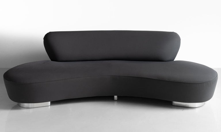 Cloud Sofa by Vladimir Kagan, America, 21st century.  Original upholstery with Chrome Base and makers label.