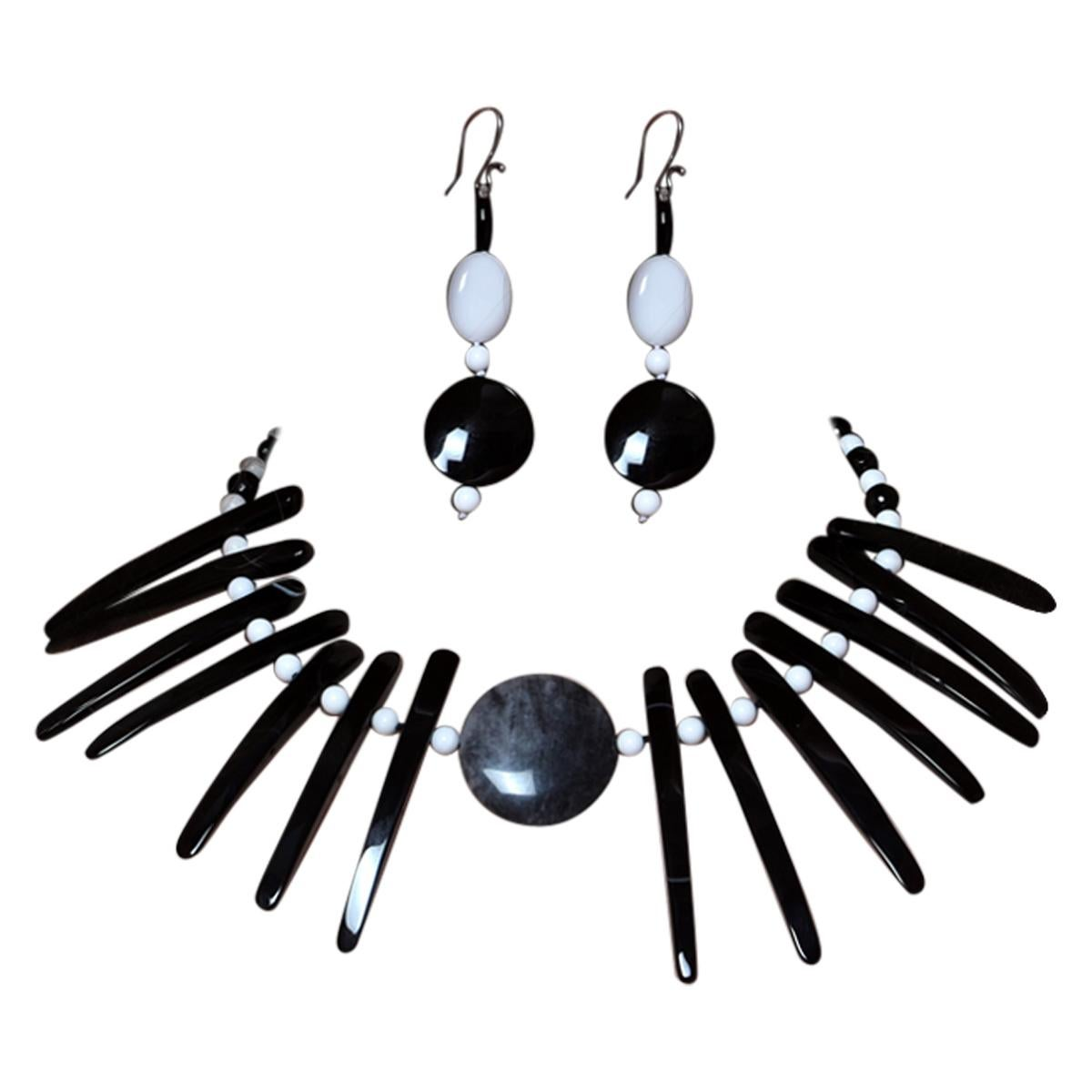 Cloudy Agate Silver Tribal Warrior Round Branches Choker Necklace Earrings Set