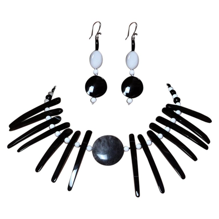 Cloudy Agate Silver Tribal Warrior Round Branches Choker Necklace Earrings Set For Sale