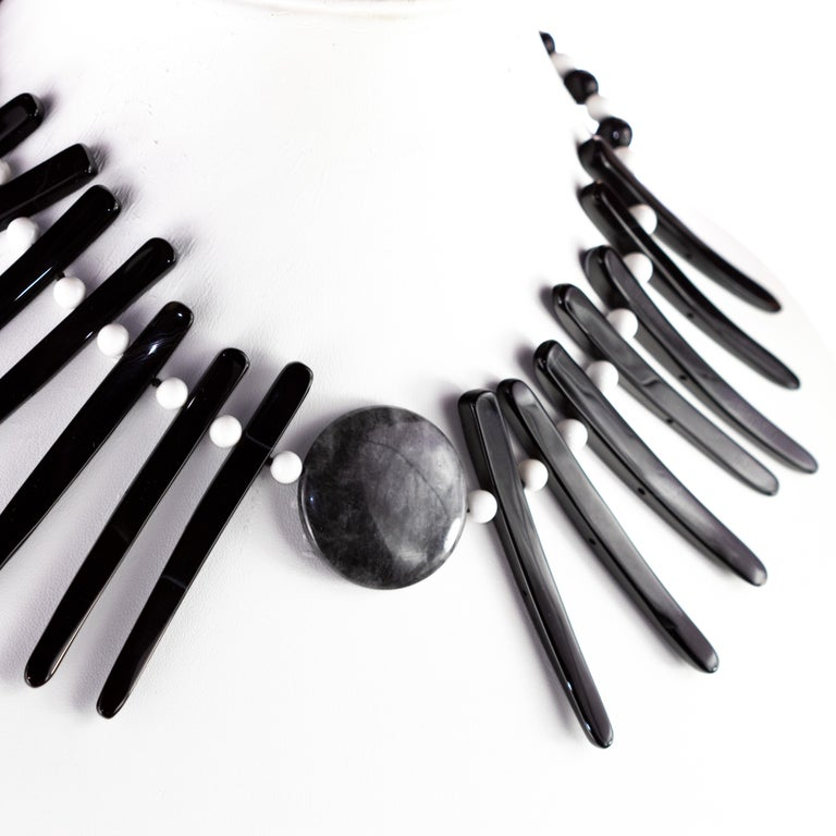 Cloudy Agate Silver Tribal Warrior Round Branches Choker Necklace Earrings Set In New Condition For Sale In Milano, IT