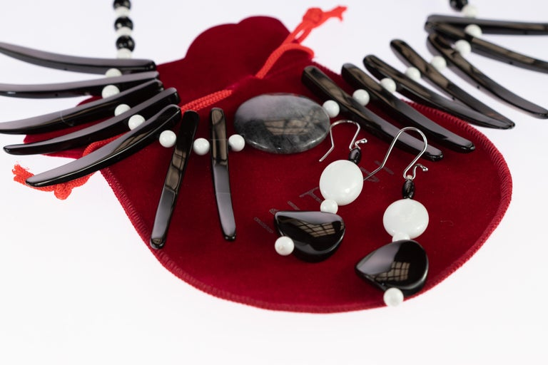 Cloudy Agate Silver Tribal Warrior Round Branches Choker Necklace Earrings Set For Sale 1