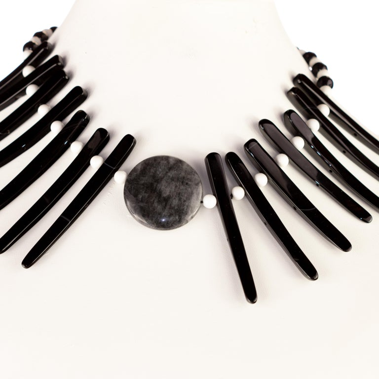Cloudy Agate Silver Tribal Warrior Round Branches Choker Necklace Earrings Set For Sale 2