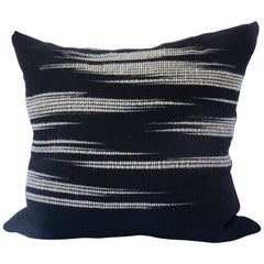 """Cloudy Night"" High Contrast Linen and Alpaca Pillow"