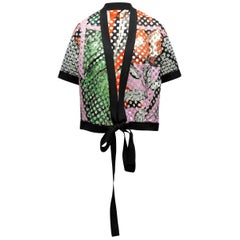 Clover Canyon Black & Multicolor Perforated Short Sleeve Jacket
