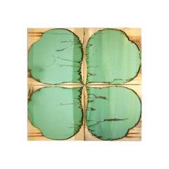 Clover Contemporary Sculpture Cabinet, Birch Wood, Jade Silvered Glass Doors