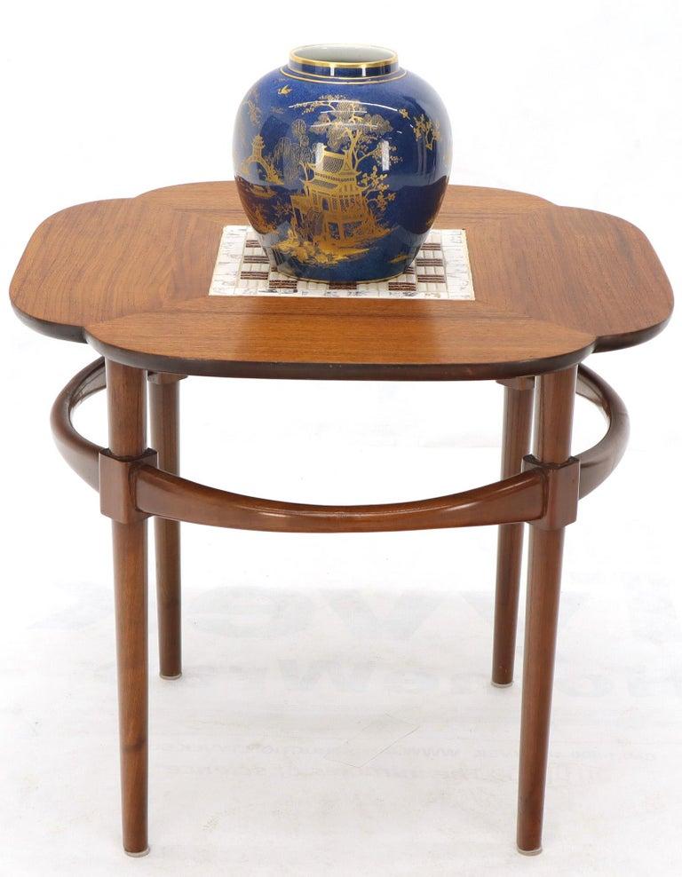 Clover Shape Checker Tile Top Walnut Side Table For Sale 4