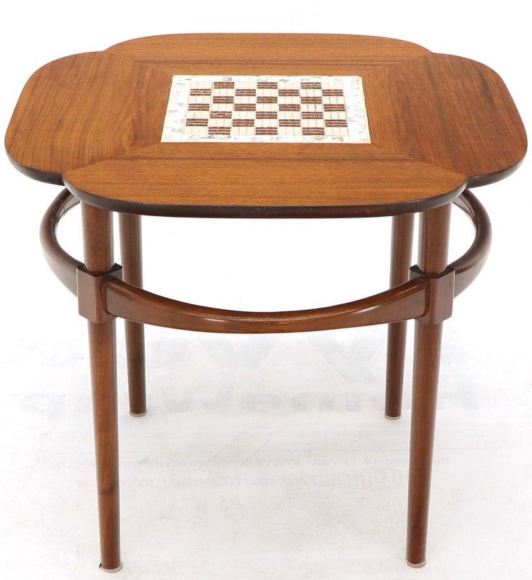 Mid-Century Modern Clover Shape Checker Tile Top Walnut Side Table For Sale