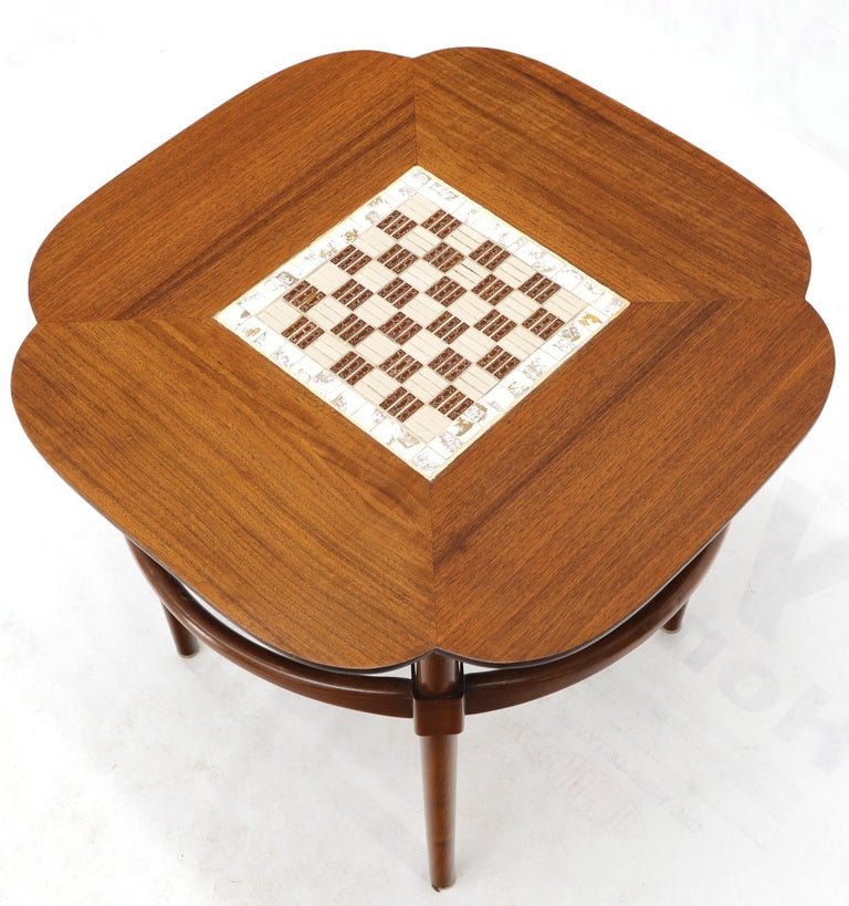 American Clover Shape Checker Tile Top Walnut Side Table For Sale