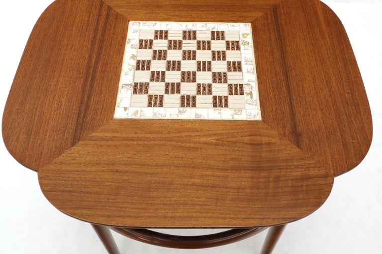 Clover Shape Checker Tile Top Walnut Side Table In Excellent Condition For Sale In Blairstown, NJ