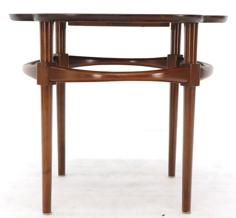 20th Century Clover Shape Checker Tile Top Walnut Side Table For Sale