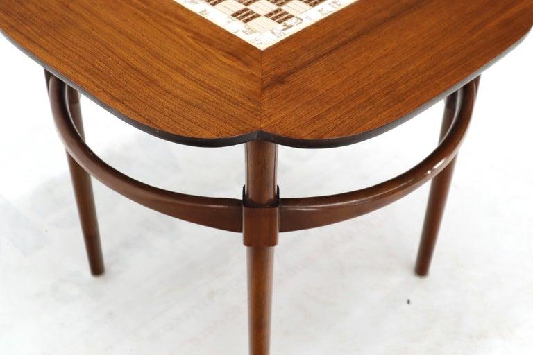 Clover Shape Checker Tile Top Walnut Side Table For Sale 1