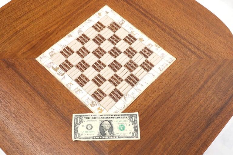Clover Shape Checker Tile Top Walnut Side Table For Sale 2