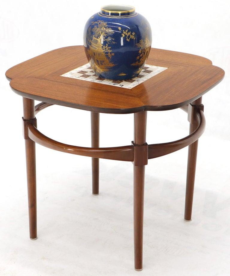 Clover Shape Checker Tile Top Walnut Side Table For Sale 3