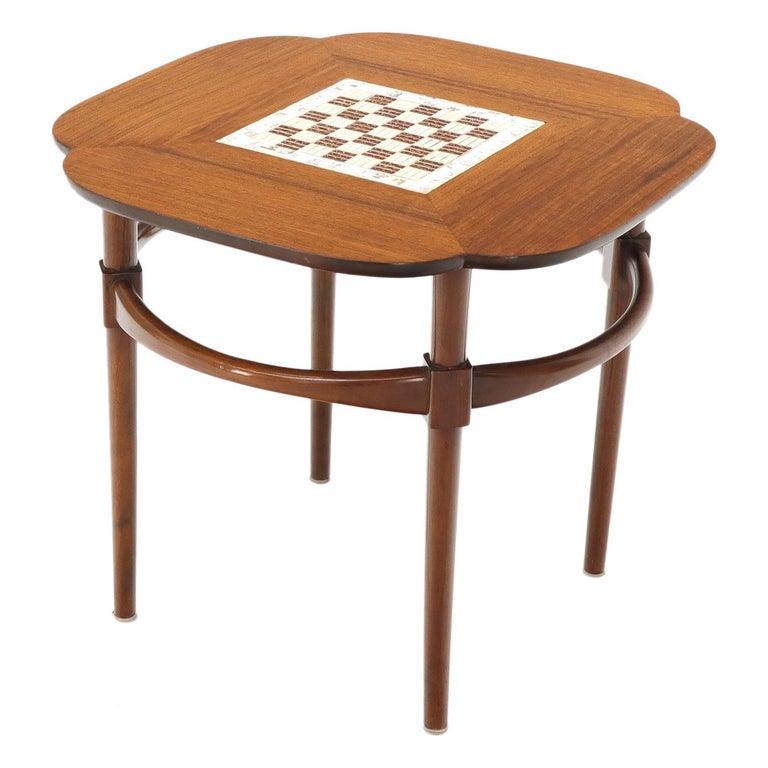 Clover Shape Checker Tile Top Walnut Side Table For Sale