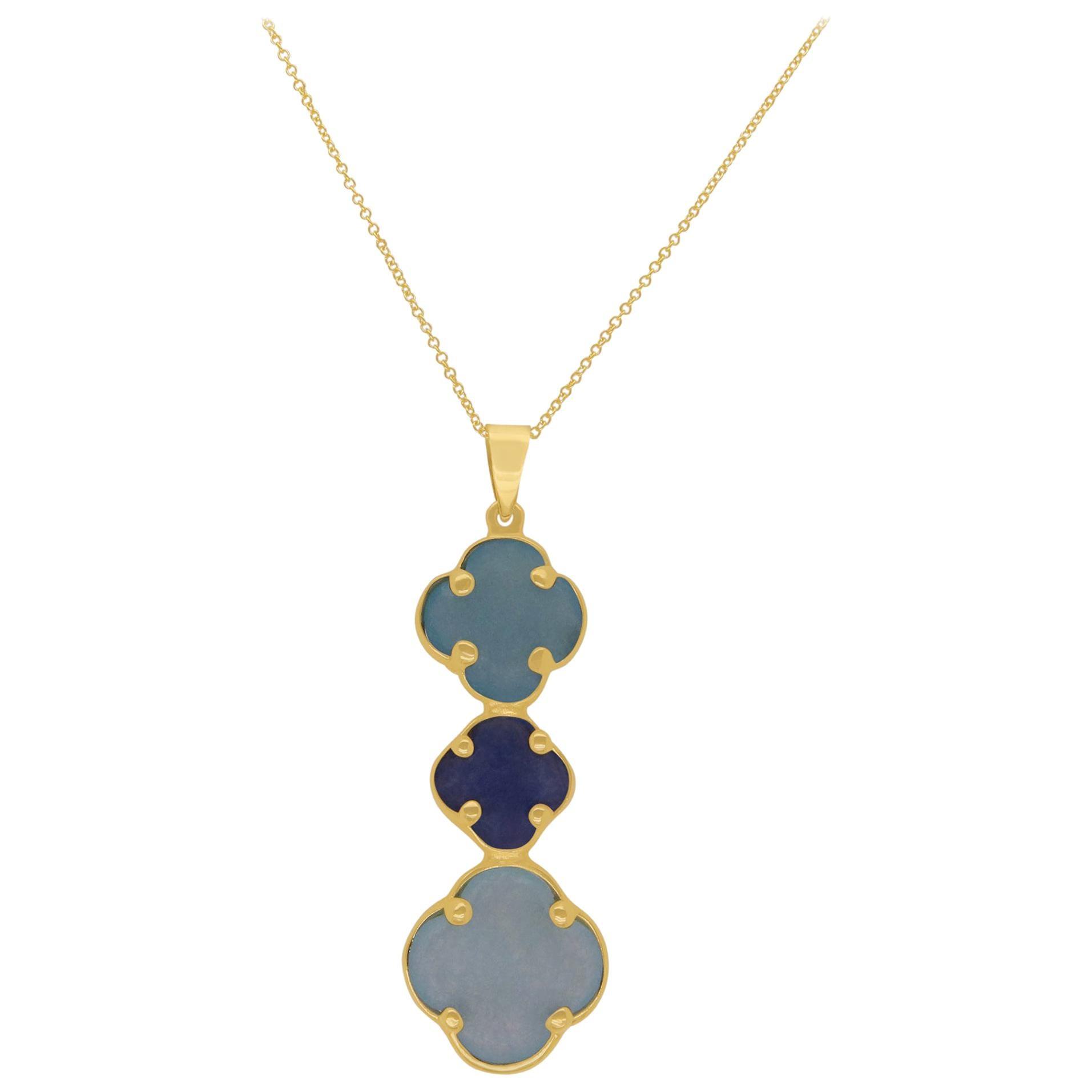 Three Drop Clover Shaped Multi-Gemstone Pendant Necklace 14K Yellow Gold