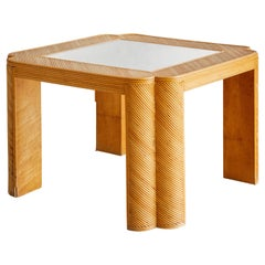 Clover Shaped Split Reed Bamboo Side Table with Mirrored Top