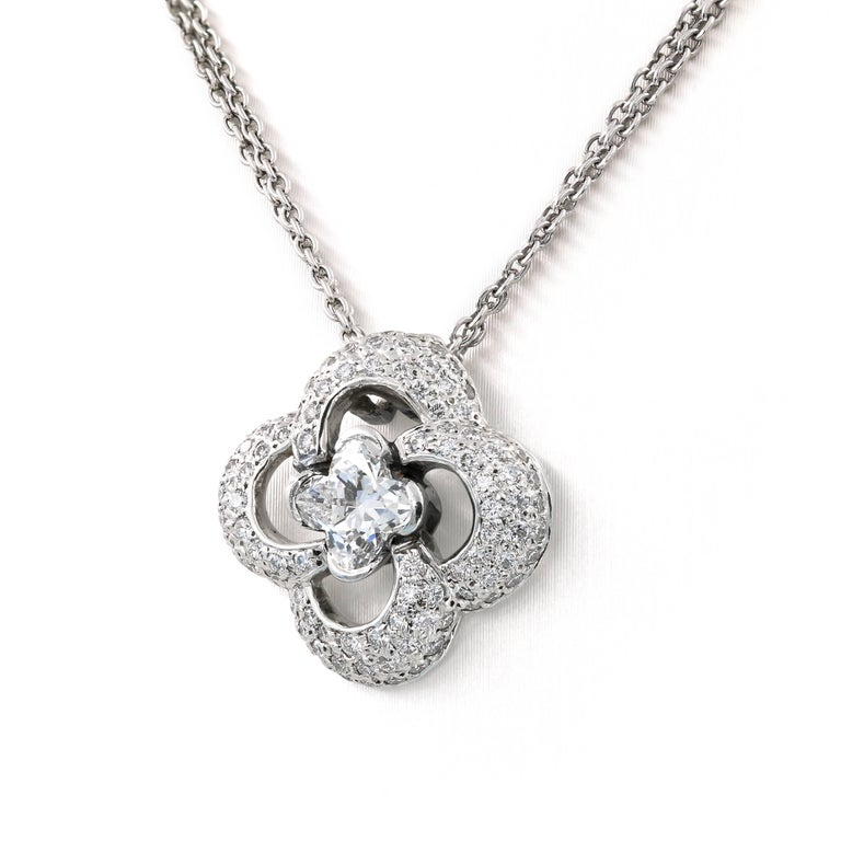 Contemporary Clover Style Diamond Necklace with .88ct. Lili-cut Diamond Center For Sale