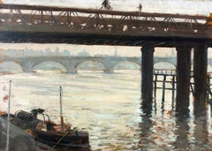 Along the Thames  Clovis Didier  Oil on Panel  French