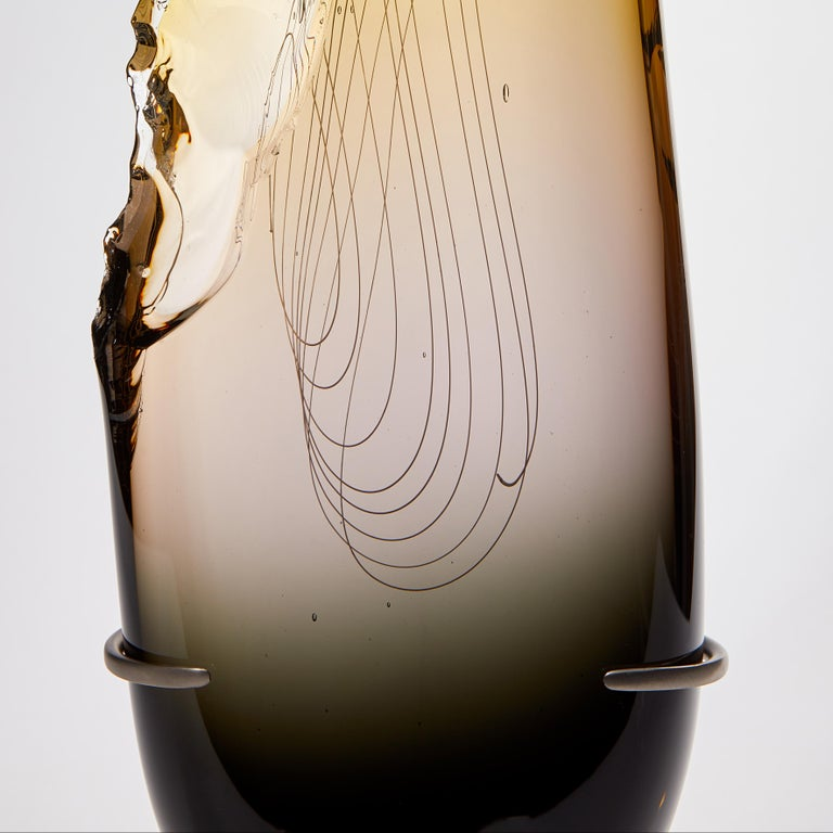 Clovis in Grey to Topaz, a Unique Tall Glass Sculpture by James Devereux In New Condition For Sale In London, GB