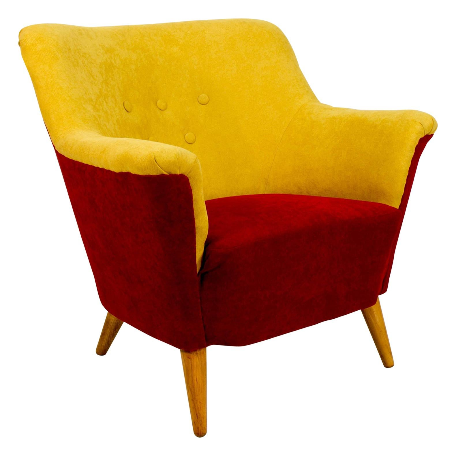 Club Armchair in Red and Yellow, 1930