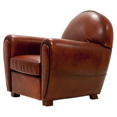 Club Armchair with Natural Brown Genuine Leather