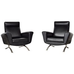 Club Armchairs Set, Black Faux Leather, Stainless Steel Structure, Italy, 1950s