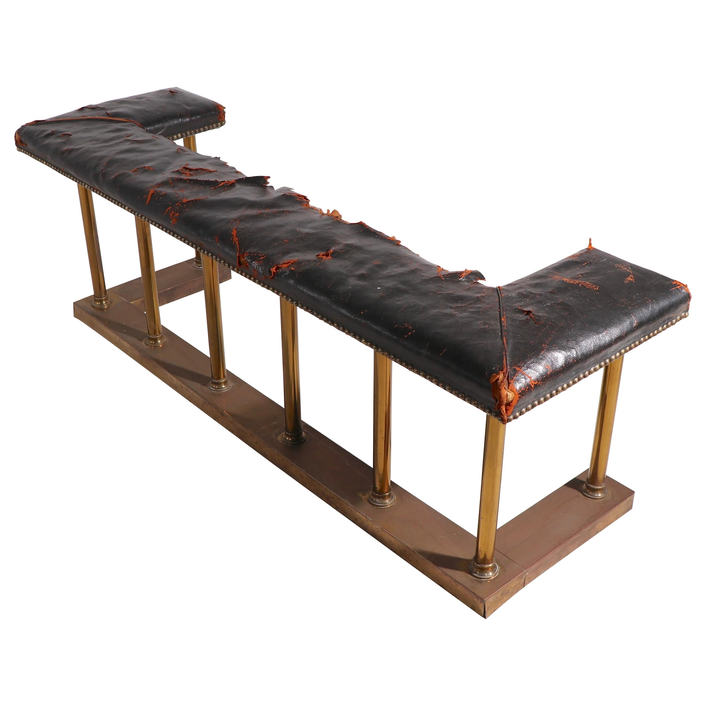 Club Bench Fender Brass with Leather Seat