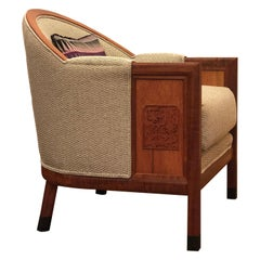 Club Chair by Brian Holcombe in Mahogany with Upholstery