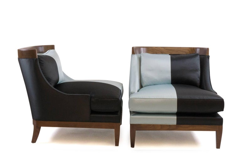 Hand-Carved Club Chairs Pair, Hollywood Regency, Walnut and Silk For Sale