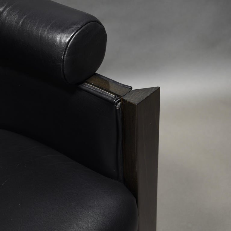 Club Chair in Leather and Ebony by Umberto Asnago for Giorgetti, Italy, 1980s For Sale 6