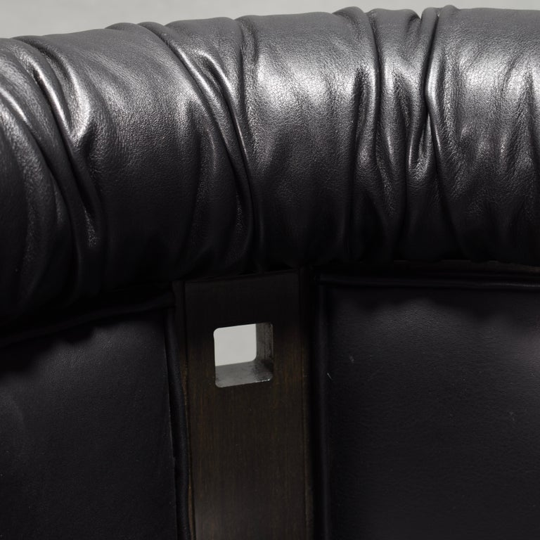 Club Chair in Leather and Ebony by Umberto Asnago for Giorgetti, Italy, 1980s For Sale 9