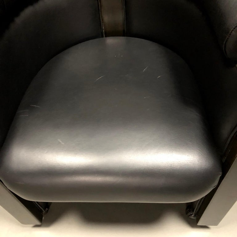 Club Chair in Leather and Ebony by Umberto Asnago for Giorgetti, Italy, 1980s For Sale 2