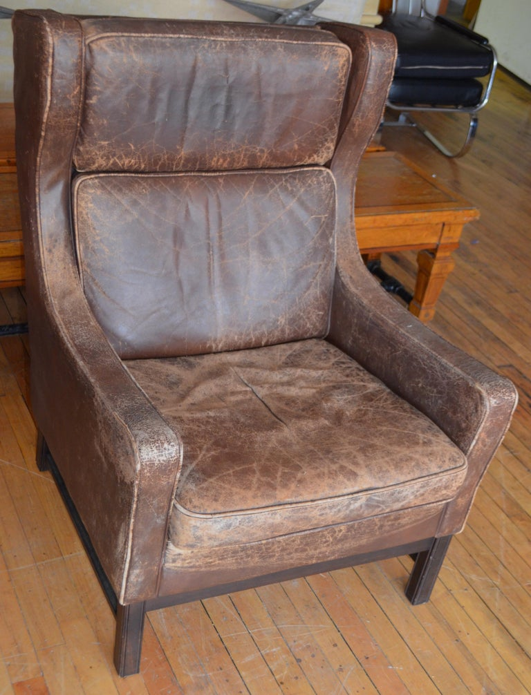Strange Club Chair Of Worn Leather From Edwardian England Wingback Early 20Th Century Pdpeps Interior Chair Design Pdpepsorg