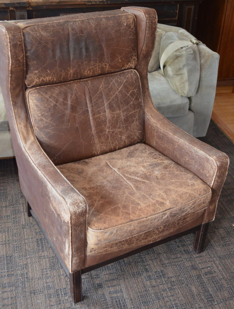 Awe Inspiring Club Chair Of Worn Leather From Edwardian England Wingback Early 20Th Century Pdpeps Interior Chair Design Pdpepsorg