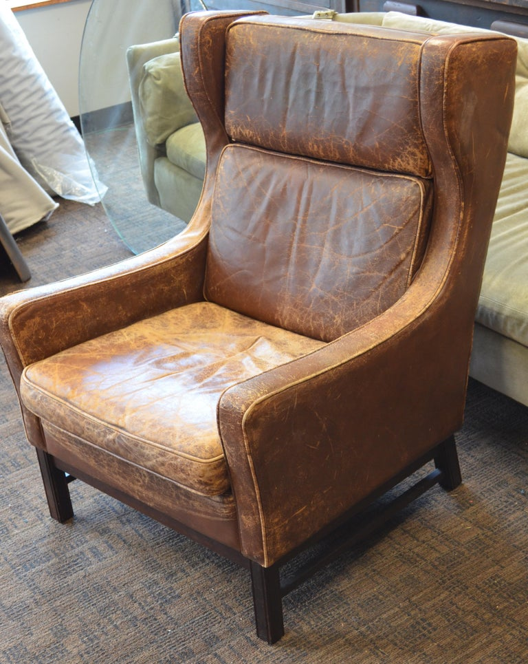 Excellent Club Chair Of Worn Leather From Edwardian England Wingback Early 20Th Century Pdpeps Interior Chair Design Pdpepsorg