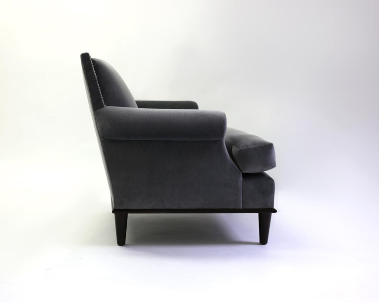 Club Chair with Nail Trimmed Square Back with Scroll Arms and Loose Seat Cushion 2