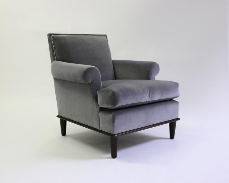 Club Chair with Nail Trimmed Square Back with Scroll Arms and Loose Seat Cushion 3
