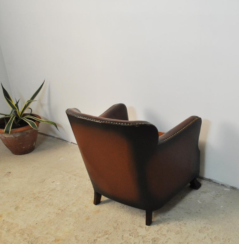 Club Chair With Original Leather From 1920s For Sale At
