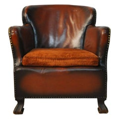 Club Chair with Original Leather from 1920s