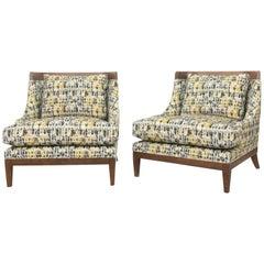 Club Chairs, Hollywood Regency, Walnut with Oil Finish