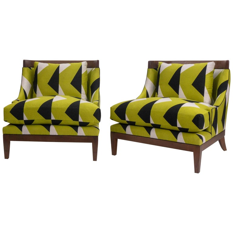 Club Chairs, Hollywood Regency, Walnut with Oil Finish For Sale