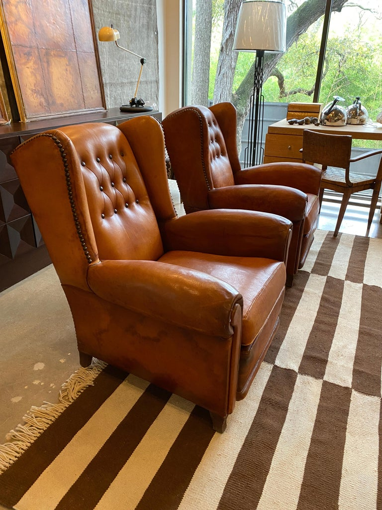 French Club Chairs in Cognac Leather, France, 1930s For Sale