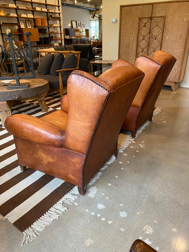 Club Chairs in Cognac Leather, France, 1930s In Good Condition For Sale In Austin, TX