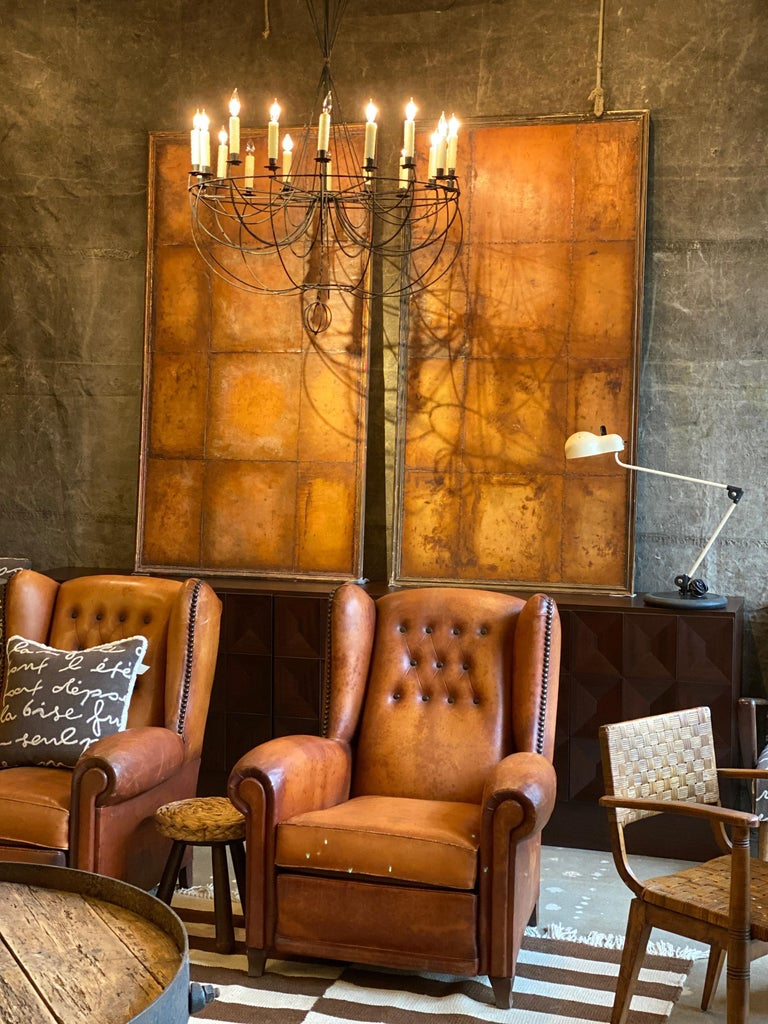 Mid-20th Century Club Chairs in Cognac Leather, France, 1930s For Sale
