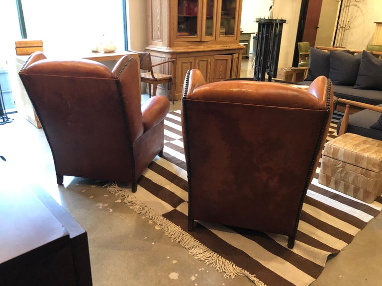 Club Chairs in Cognac Leather, France, 1930s For Sale 2