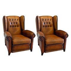Club Chairs in Cognac Leather, France, 1930s