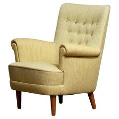 "Club Easy Arm Lounge Chair ""Samsas"" by Carl Malmsten for OH Sjogren, 1950s"