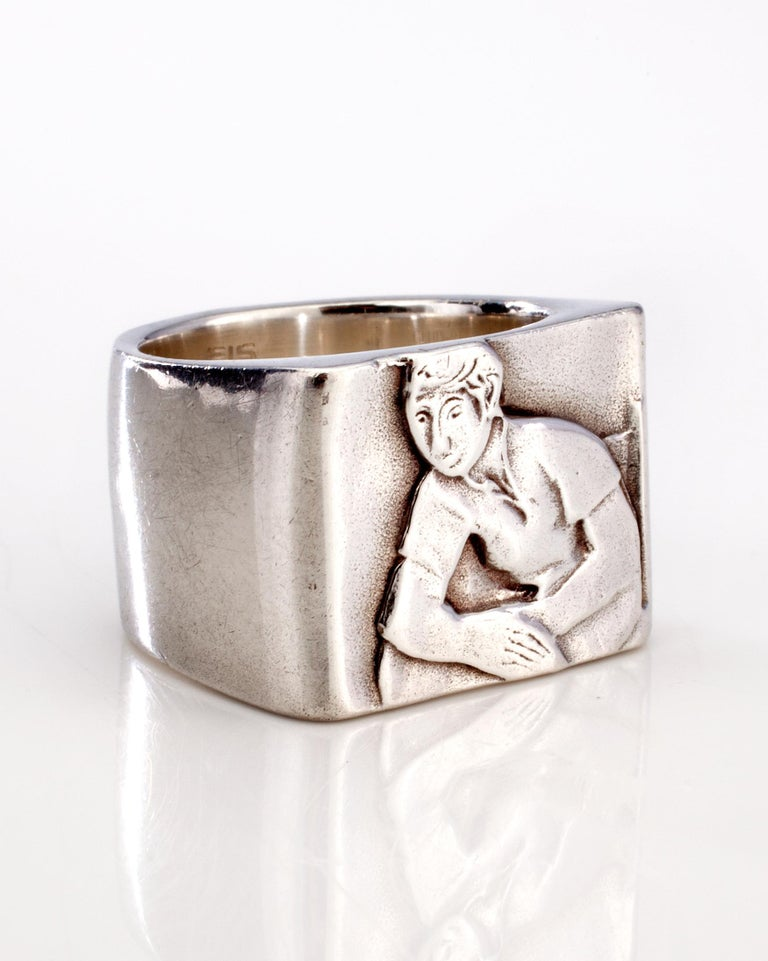 Club ring one in sterling silver. Designed and made by Anne Fischer, 1998.