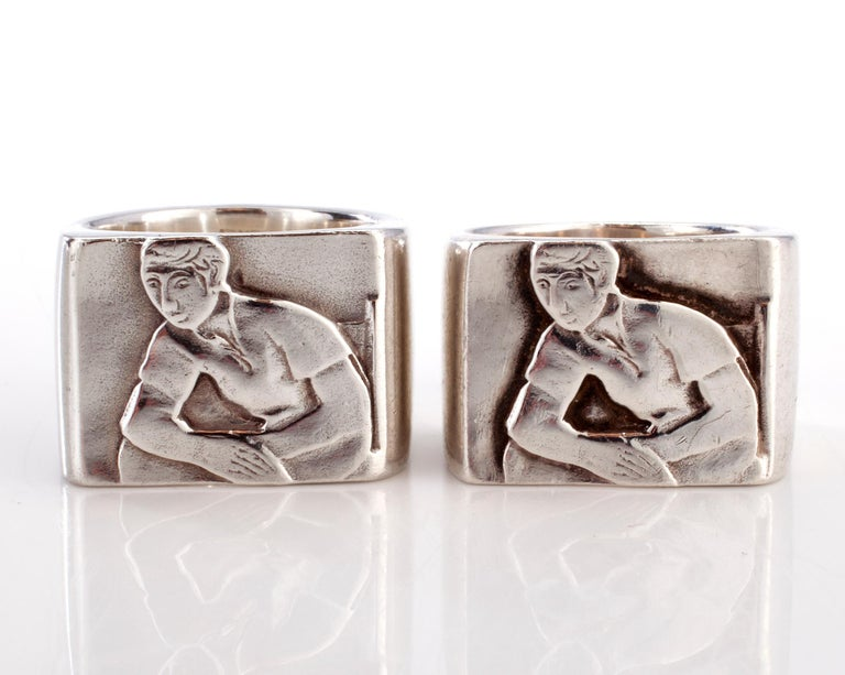 American Club One Ring in Sterling Silver by Anne Fischer, 1998 For Sale