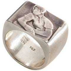 Club One Ring in Sterling Silver by Anne Fischer, 1998